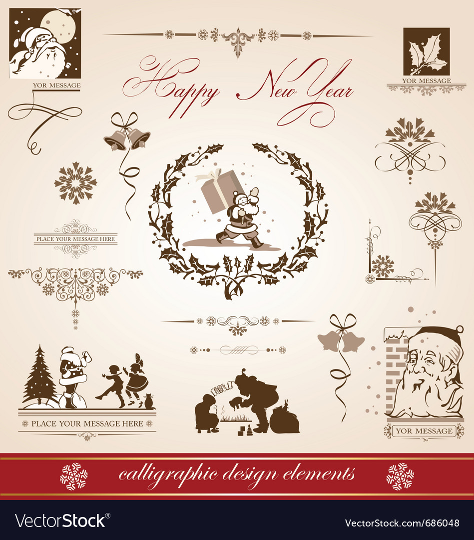 Christmas and new year greetings vector | Price: 1 Credit (USD $1)