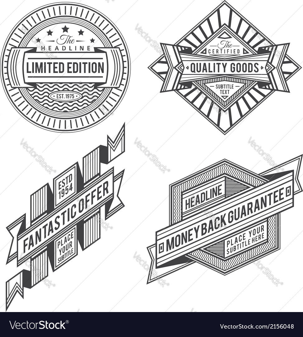Collection of retro vintage style labels and banne vector | Price: 1 Credit (USD $1)