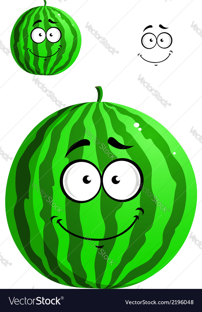 Green cartoon watermelon vector | Price: 1 Credit (USD $1)