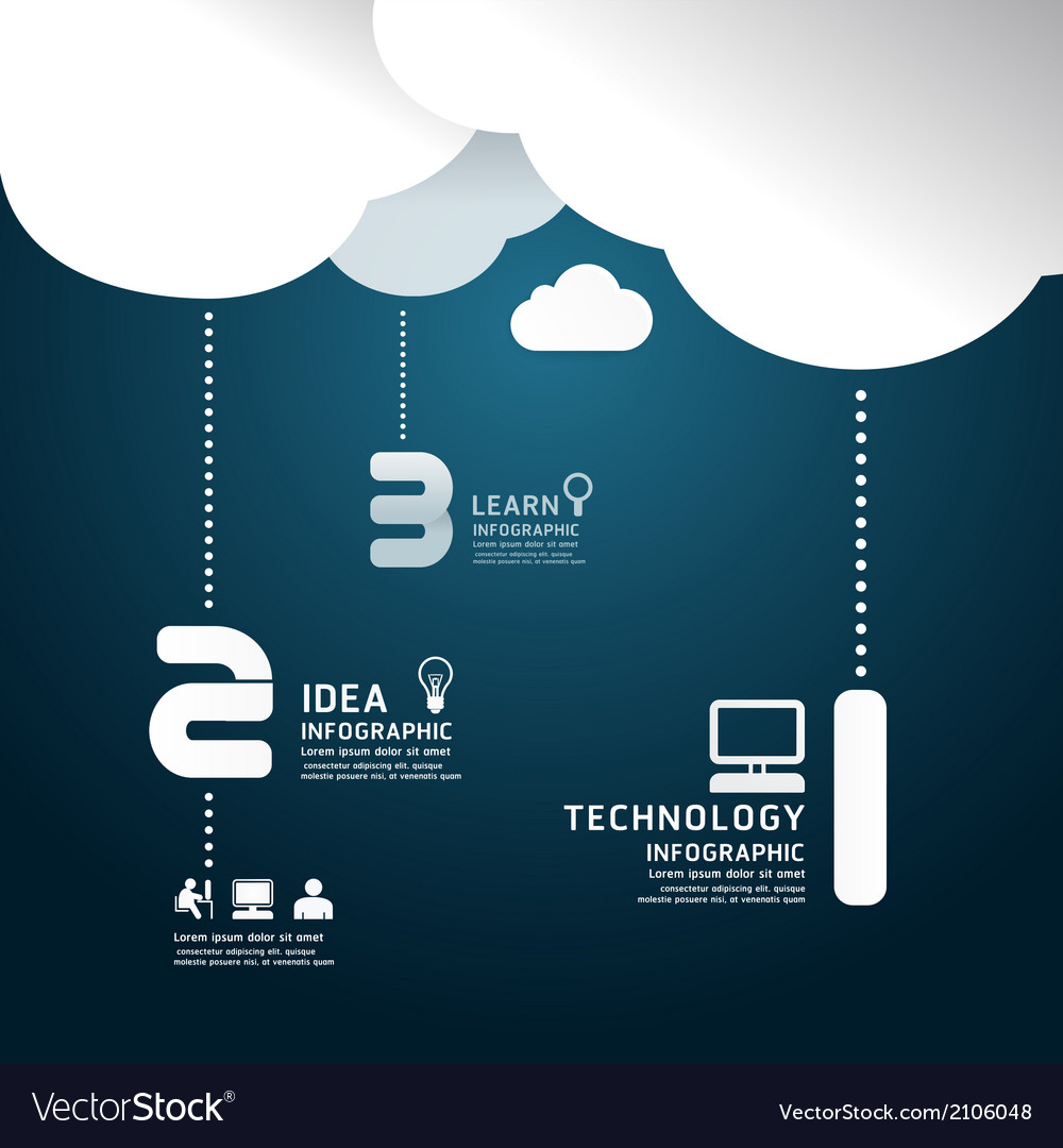 Infographic technology cloud paper cut style vector | Price: 1 Credit (USD $1)