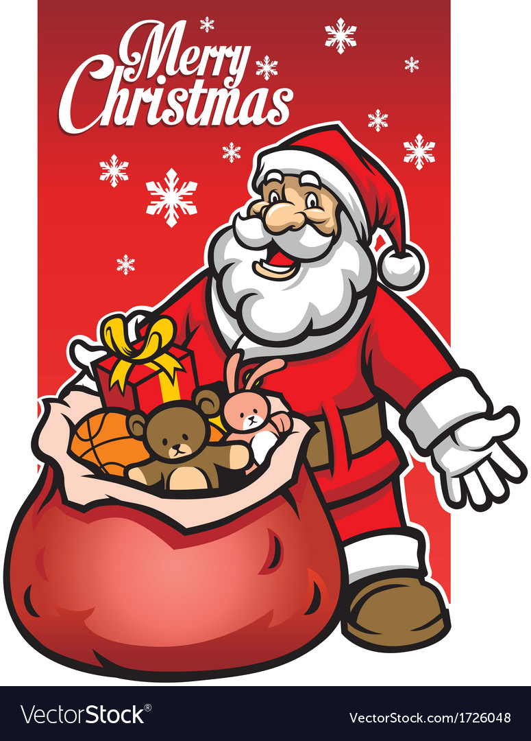 Santa with a bunch of christmas gift vector | Price: 3 Credit (USD $3)