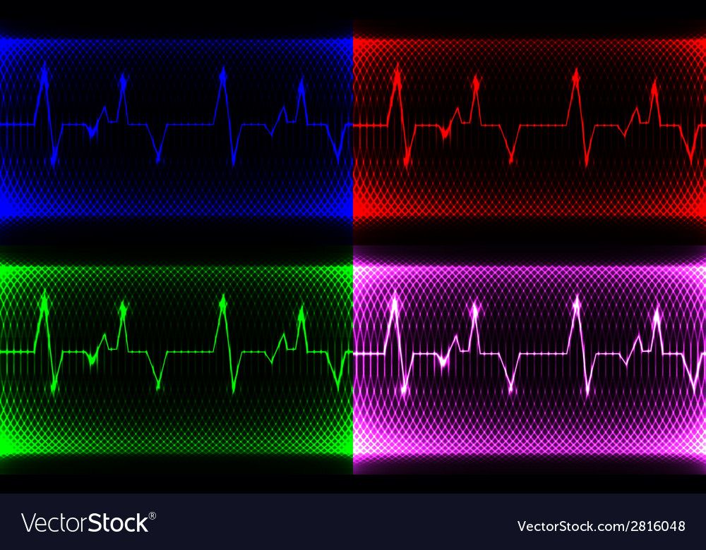 Set colorful human heart normal sinus rhythm vector | Price: 1 Credit (USD $1)