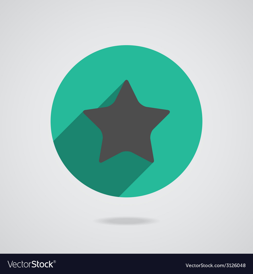 Star icon with long shadow flat design vector