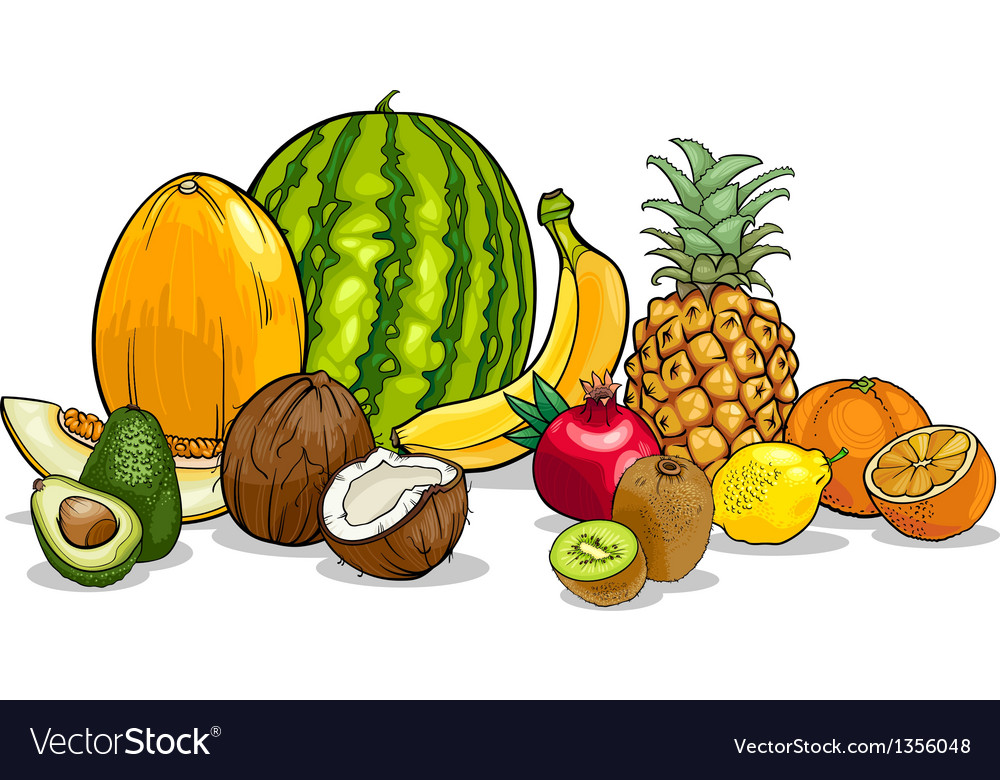 Tropical fruits cartoon vector | Price: 1 Credit (USD $1)