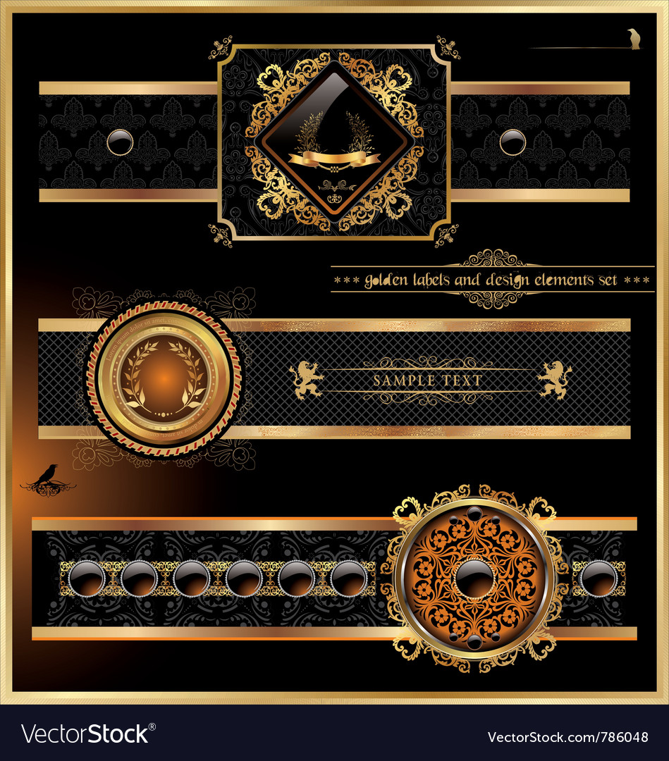 Vintage black gold frame label vector | Price: 3 Credit (USD $3)