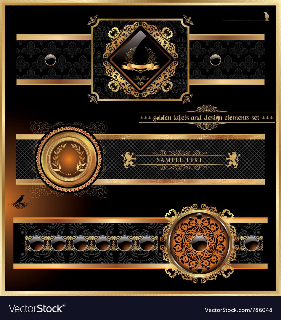 Vintage black gold frame label vector | Price: 3 Credit (USD $3)