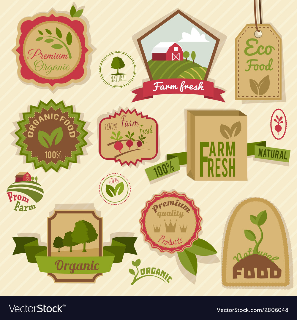 Vintage organic labels vector | Price: 1 Credit (USD $1)