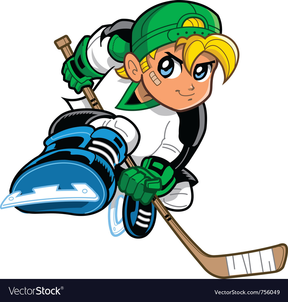 Anime manga hockey player vector | Price: 3 Credit (USD $3)