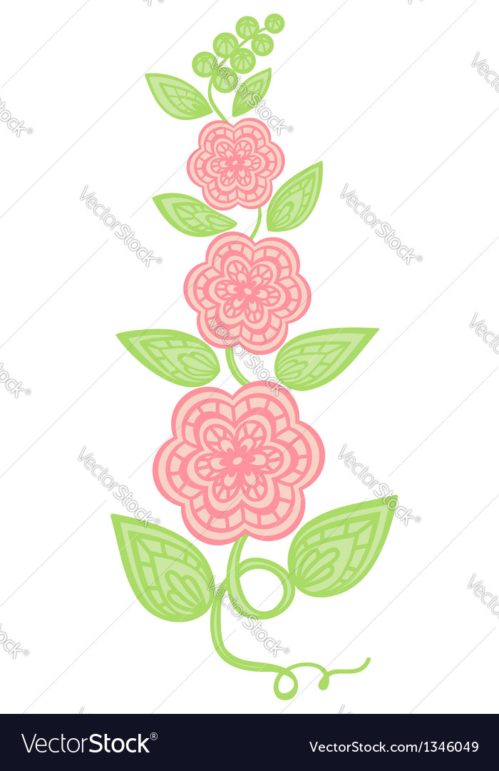 Flowers and leaves element imitation guipure embro vector | Price: 1 Credit (USD $1)