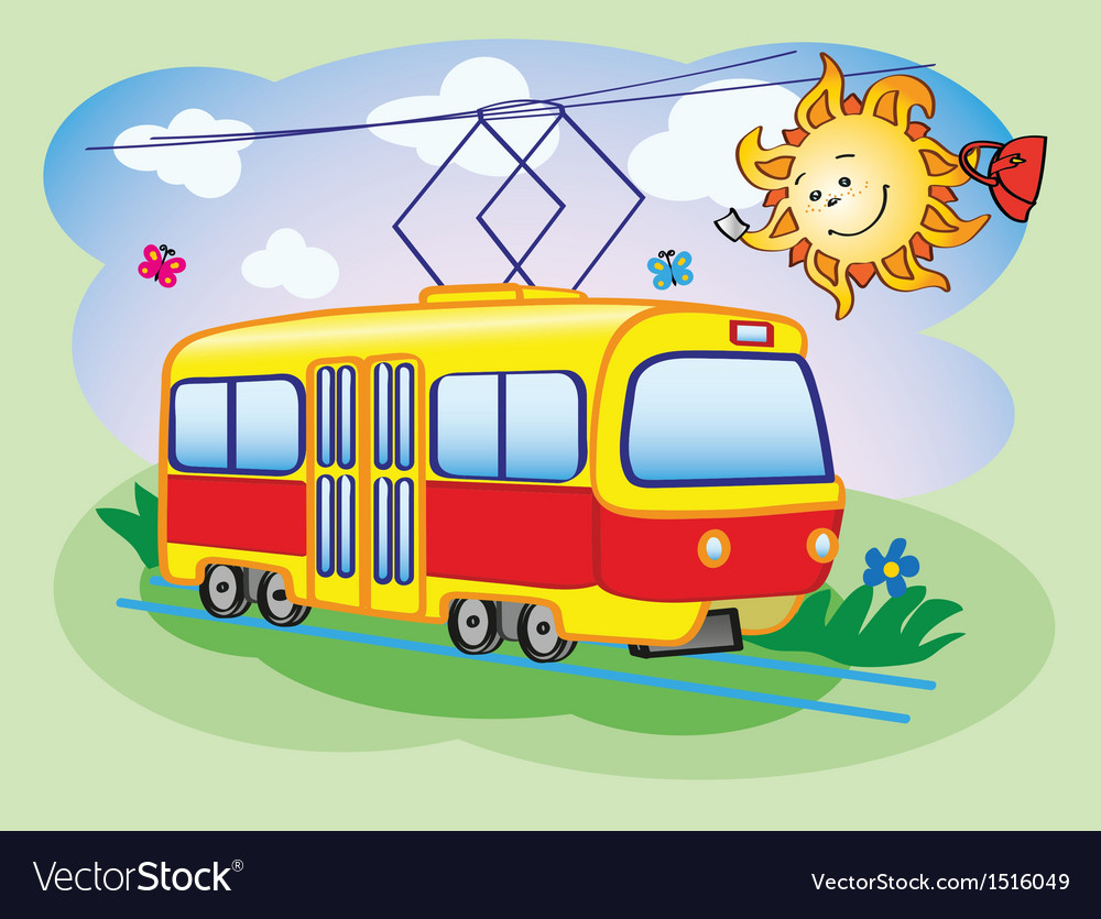 Fun tram and the sun vector | Price: 1 Credit (USD $1)