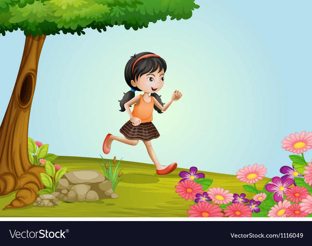 Girl running in a beautiful nature vector | Price: 1 Credit (USD $1)