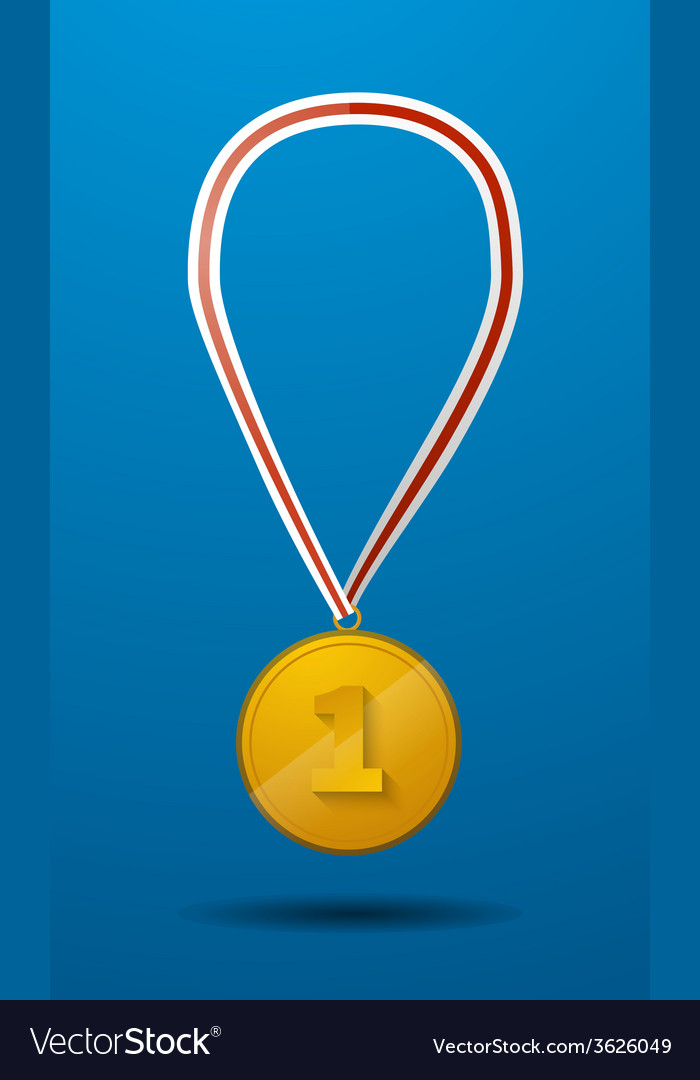 Gold medal for first place with tape icon vector | Price: 1 Credit (USD $1)