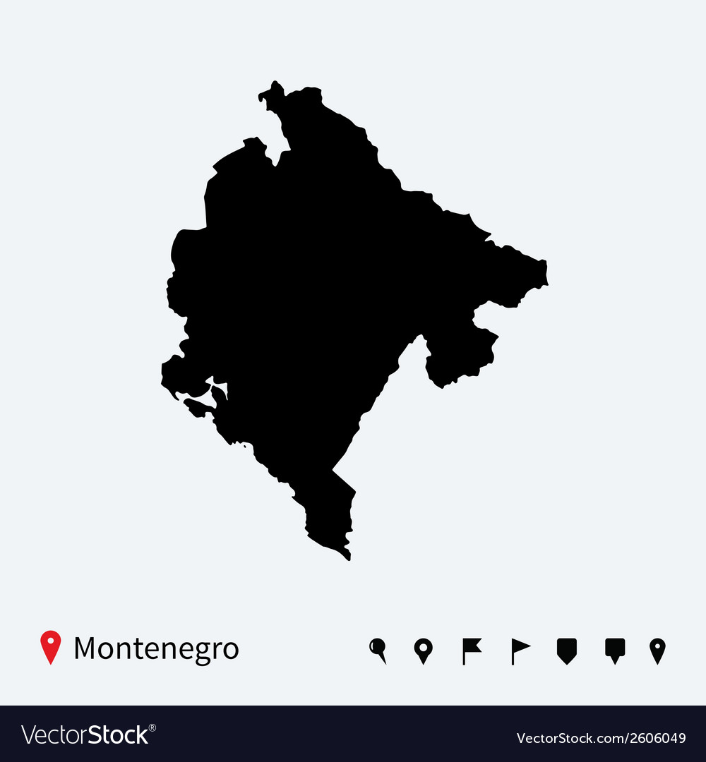 High detailed map of montenegro with navigation vector | Price: 1 Credit (USD $1)