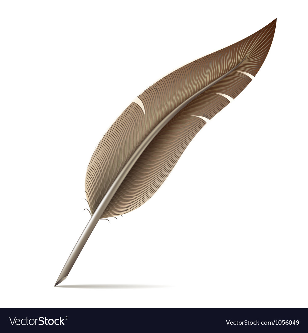 Image of feather pen on white background vector | Price: 1 Credit (USD $1)