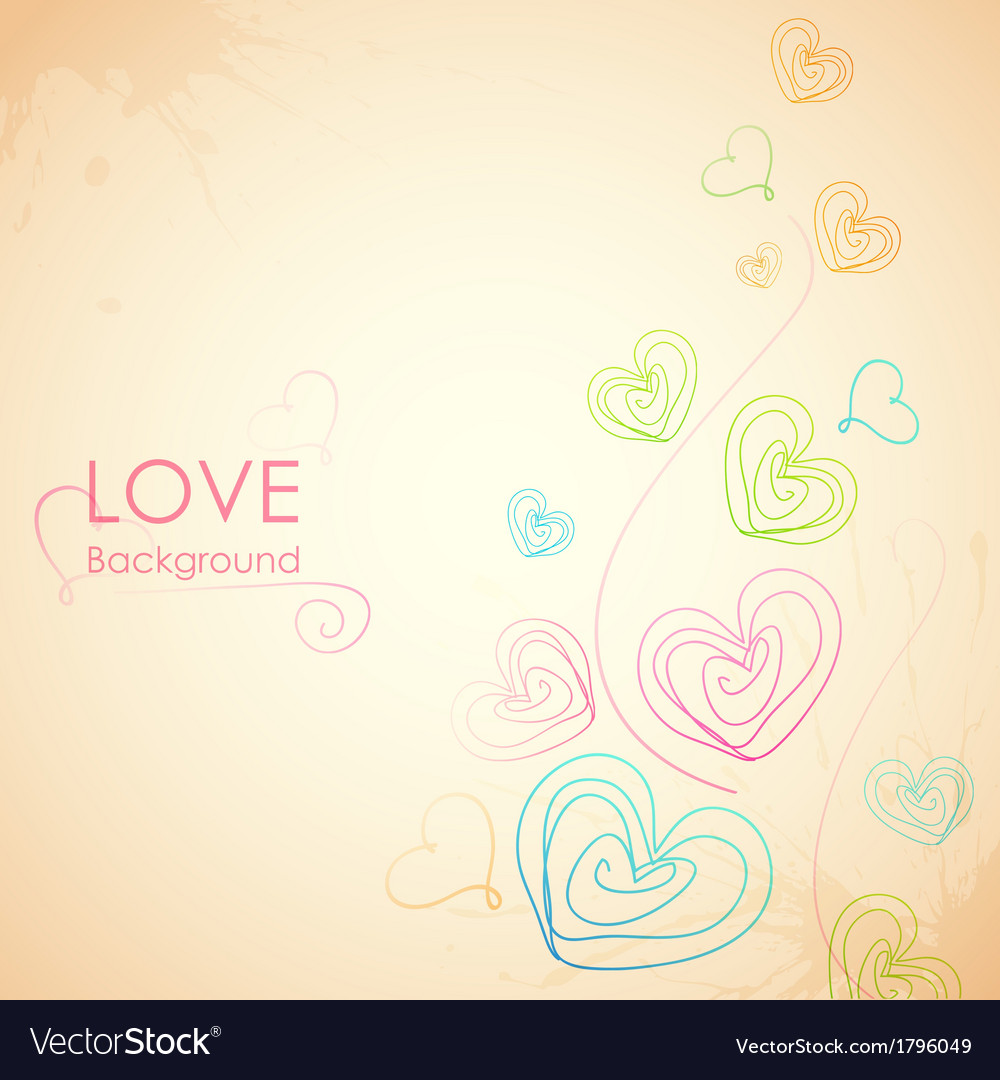 Sketchy heart in love background vector | Price: 1 Credit (USD $1)