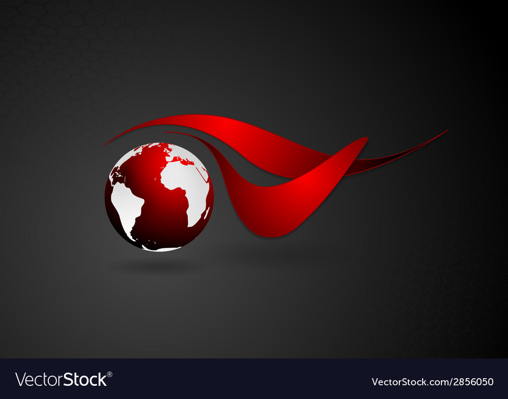 Abstract technical logo with dark globe vector | Price: 1 Credit (USD $1)