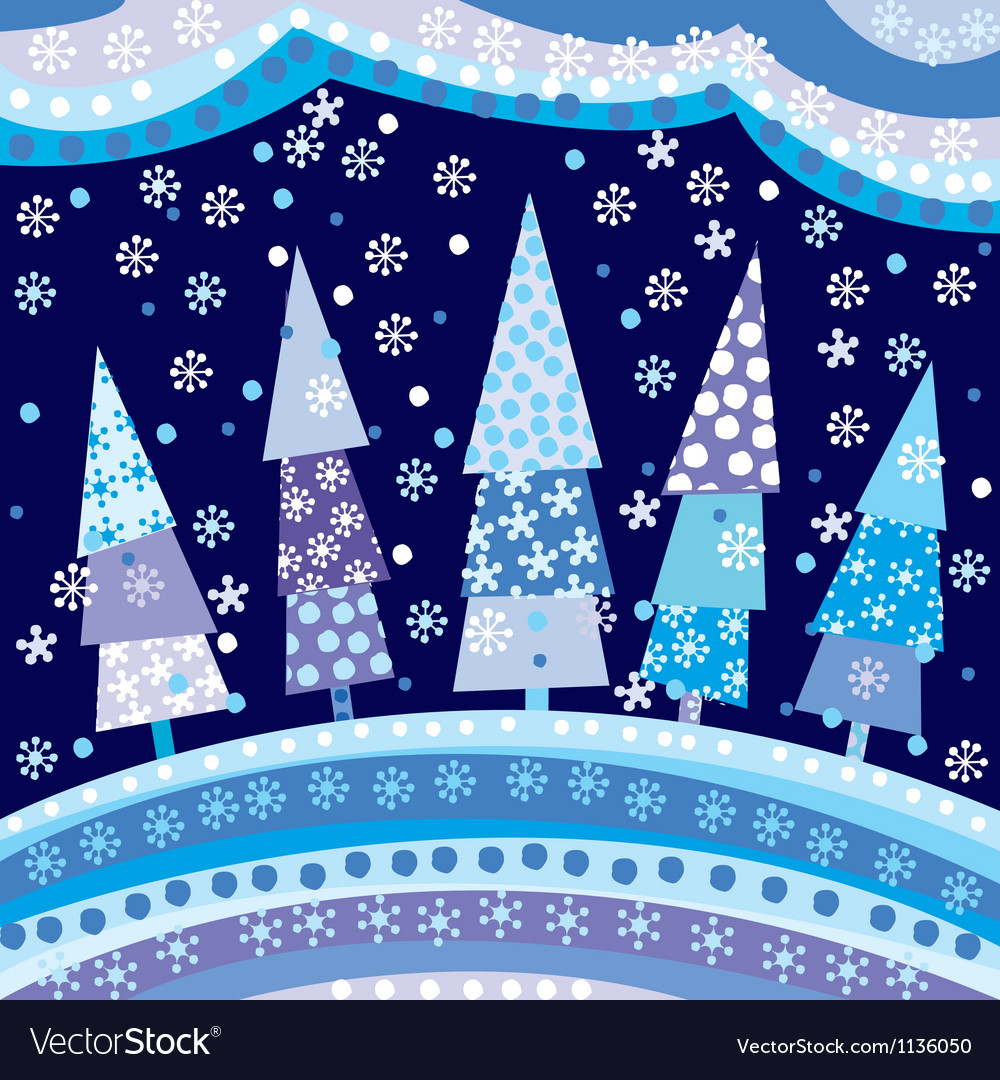 Background with christmas trees and motifs under vector | Price: 1 Credit (USD $1)