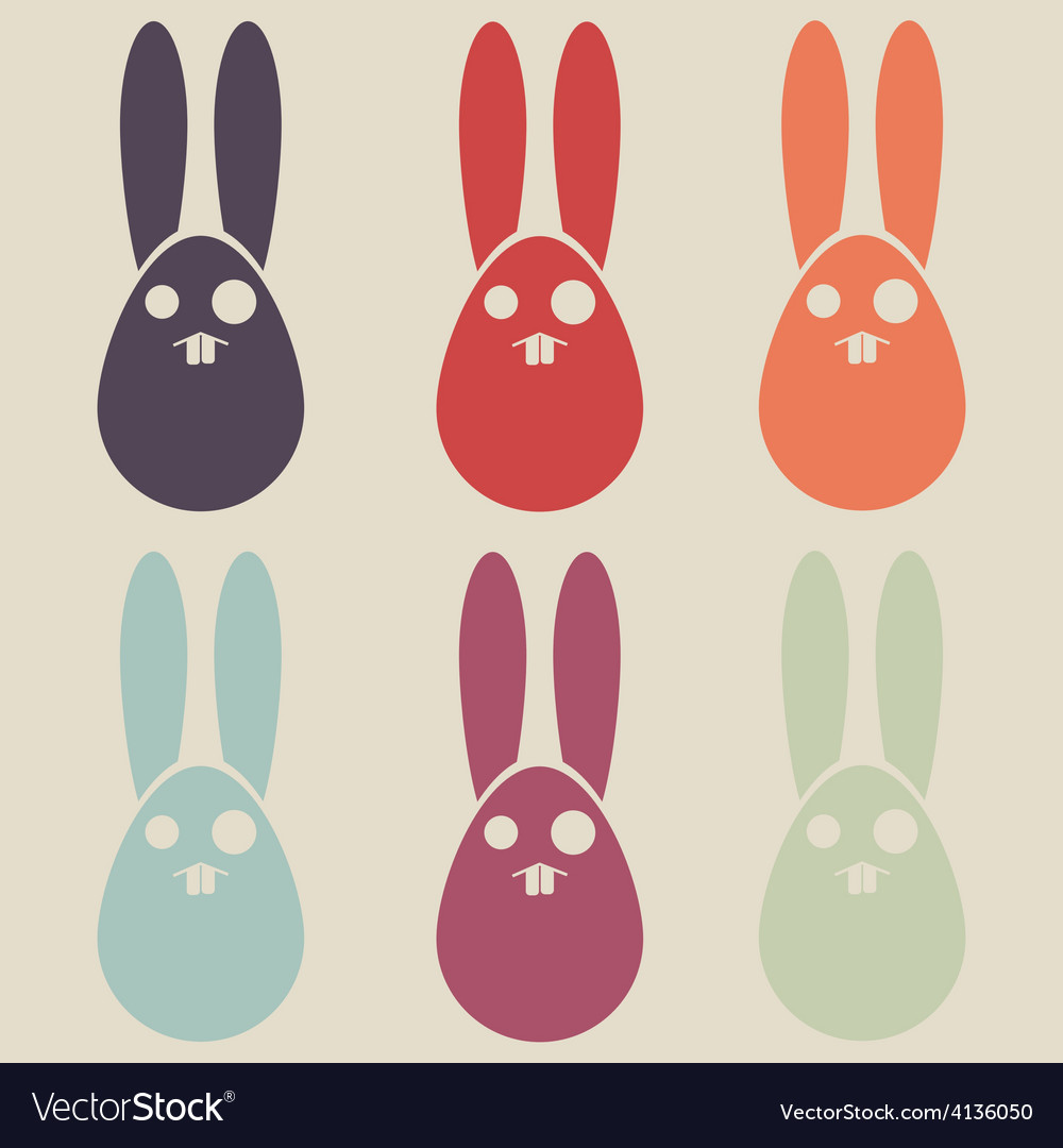 Easter rabbit colorful collection vector | Price: 1 Credit (USD $1)