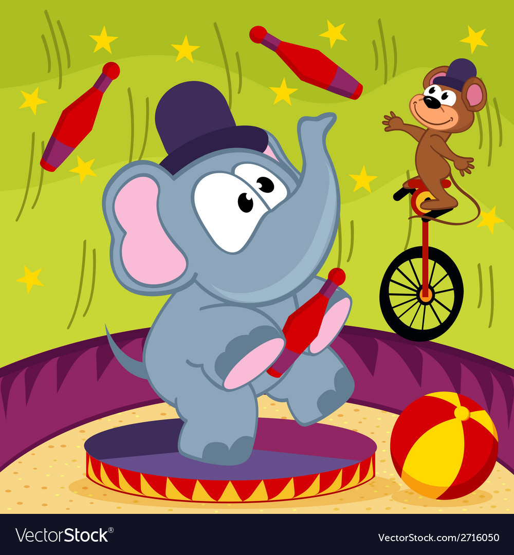 Elephant and mouse circus vector | Price: 1 Credit (USD $1)