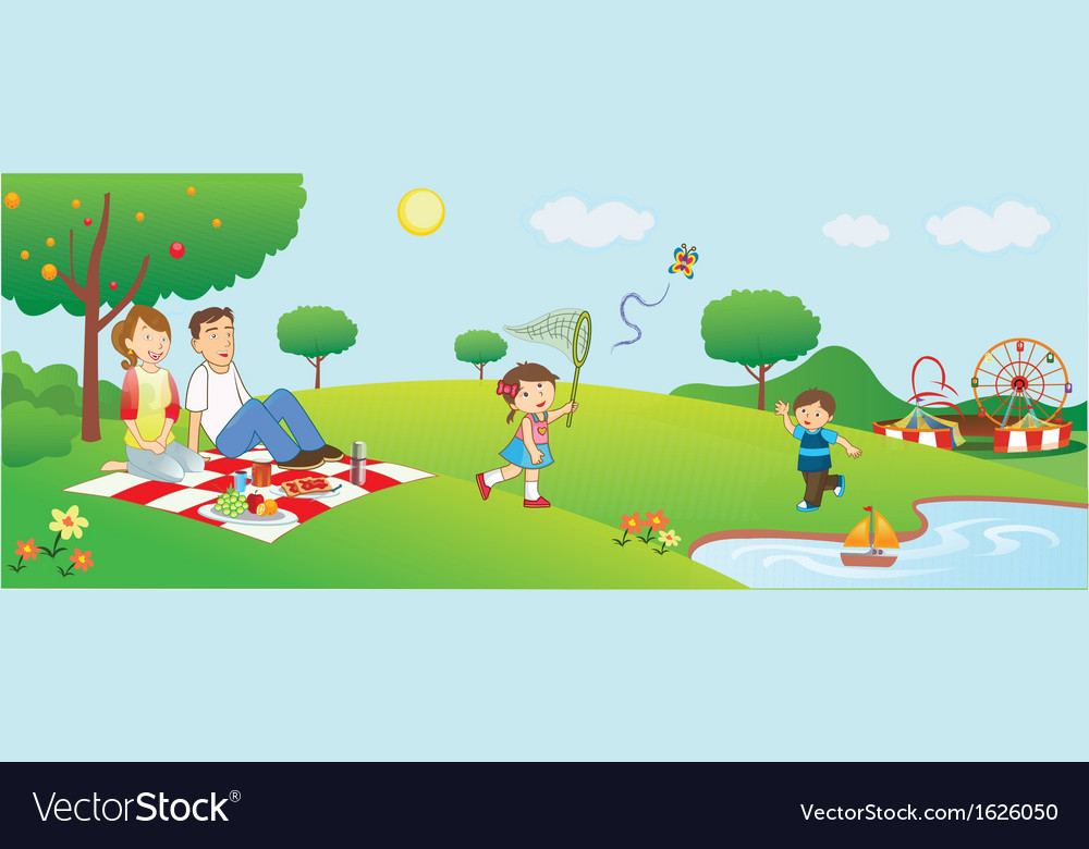 Family picnic vector | Price: 1 Credit (USD $1)
