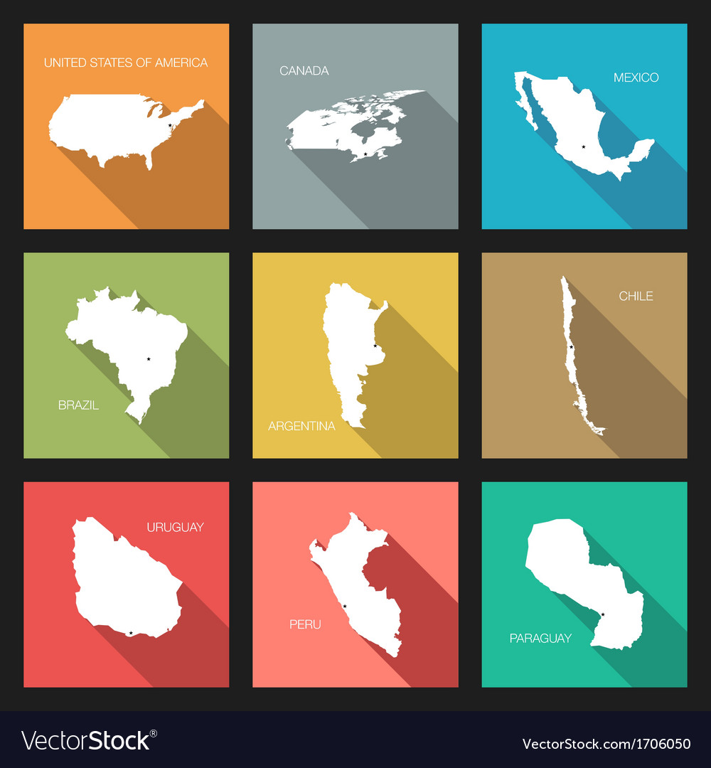 Flat icons - world countries vector   Price: 1 Credit (USD $1)