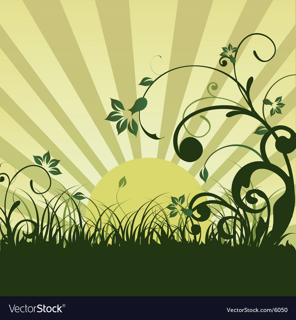 Floral sunrise vector | Price: 1 Credit (USD $1)