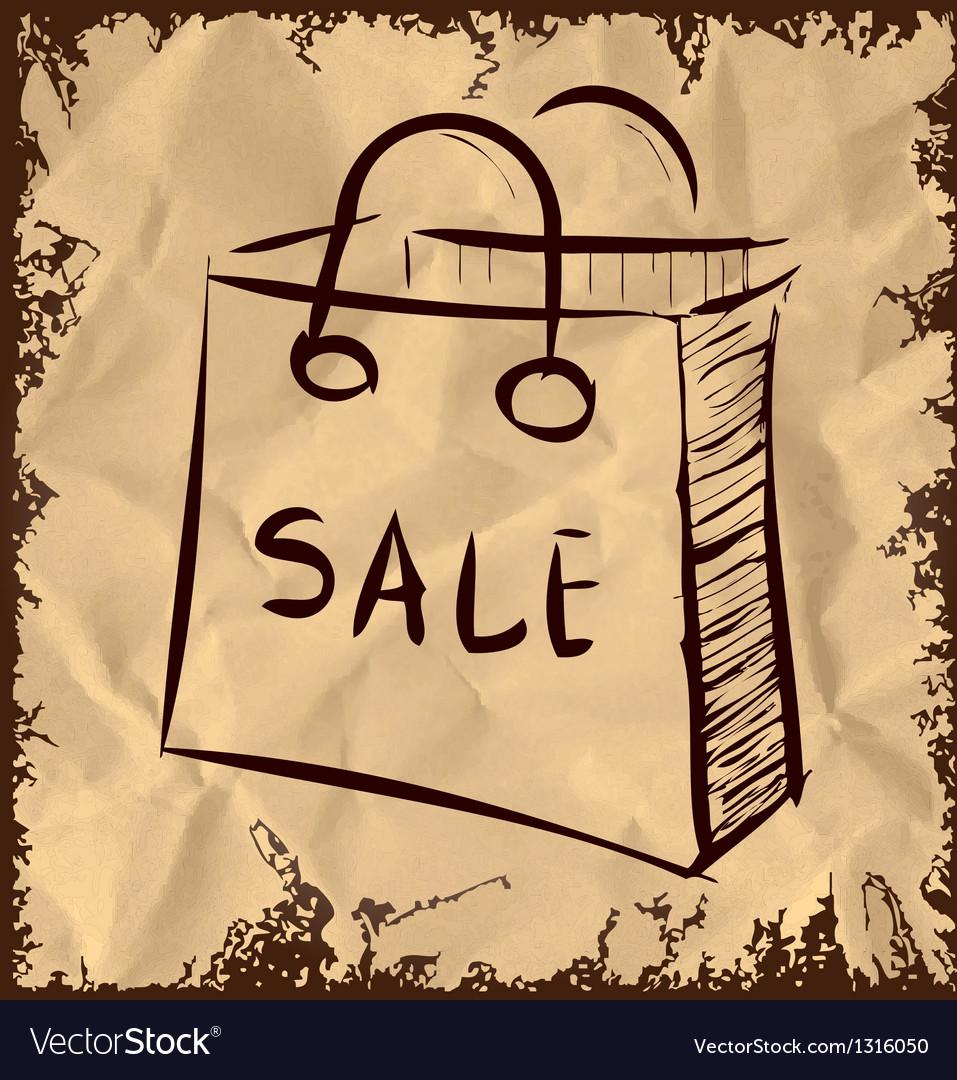Sale bag icon on vintage background vector | Price: 1 Credit (USD $1)