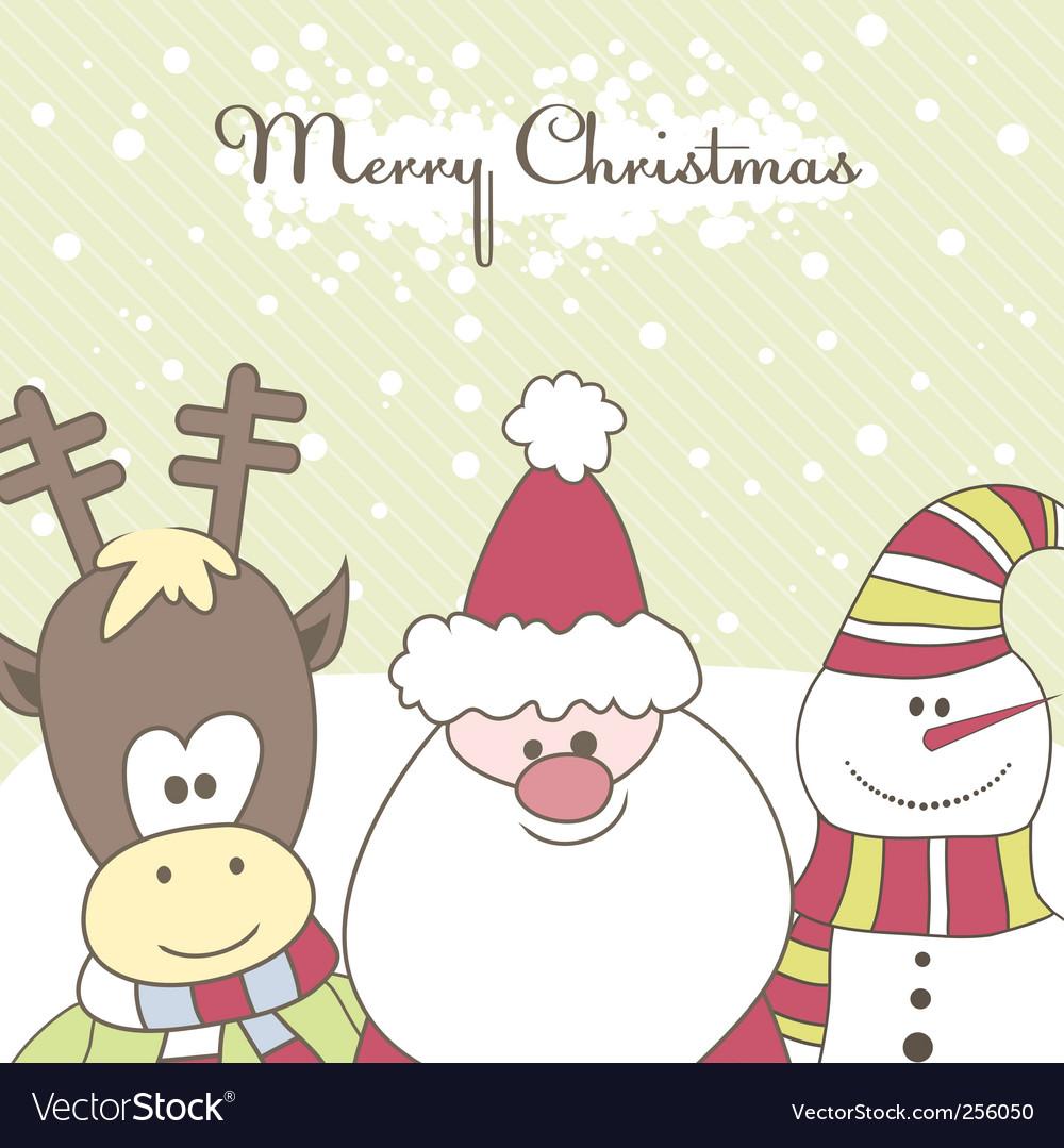 Santa reindeer snow man illustration vector | Price: 1 Credit (USD $1)