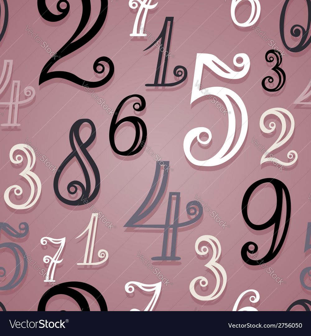Seamless pattern with vintage numbers vector | Price: 1 Credit (USD $1)