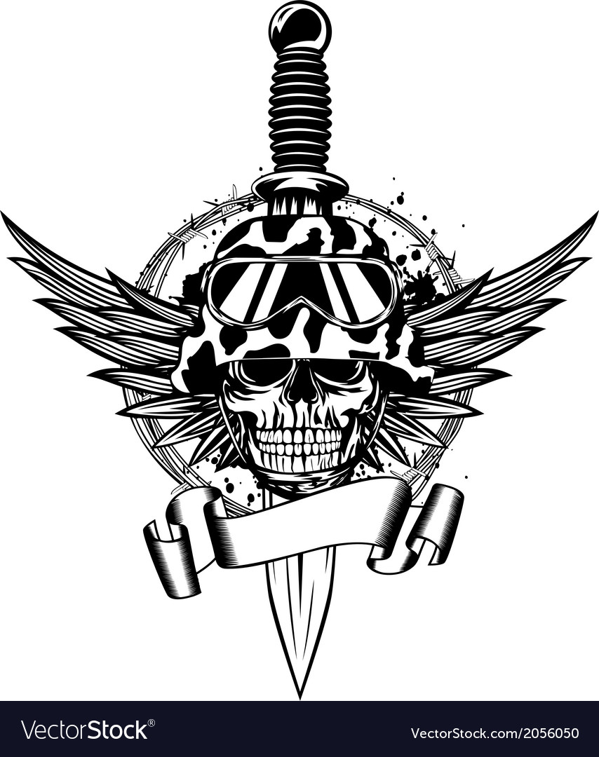 Skull in helmet wings and dagger vector | Price: 1 Credit (USD $1)