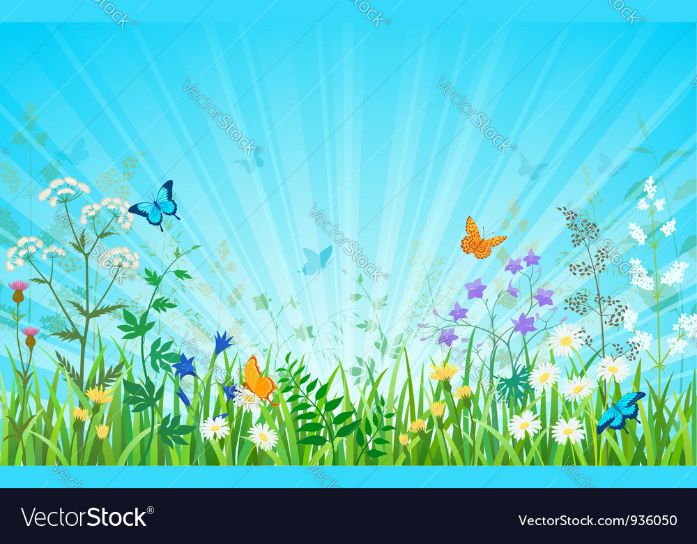 Sunny meadow horizontal version vector | Price: 3 Credit (USD $3)