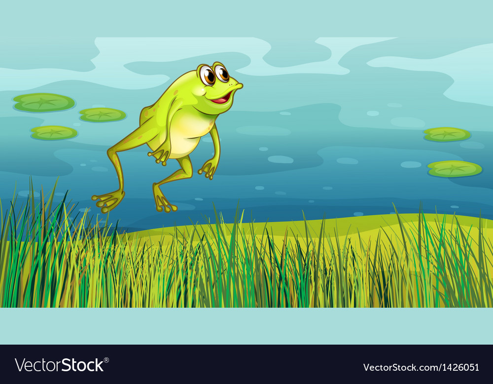 A frog jumping in the grass vector | Price: 1 Credit (USD $1)