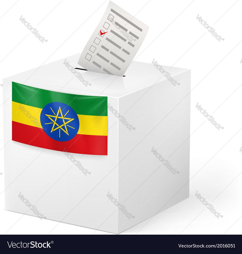 Ballot box with voting paper ethiopia vector | Price: 1 Credit (USD $1)