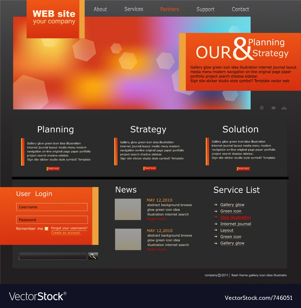 Black and orange web site for business vector | Price: 3 Credit (USD $3)