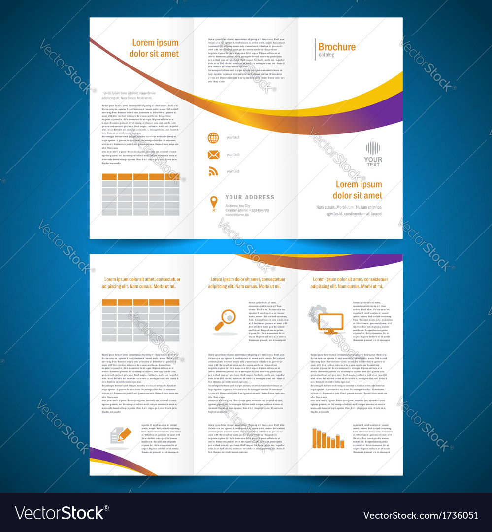 Brochure folder leaflet color yellow line vector | Price: 1 Credit (USD $1)