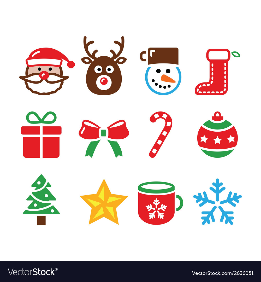 Christmas colorful icons set - santa present vector | Price: 1 Credit (USD $1)