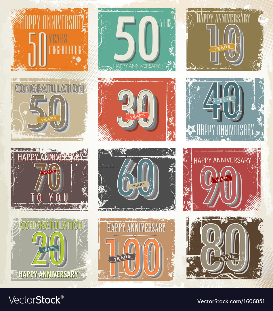 Collection of vintage retro grunge anniversary vector | Price: 1 Credit (USD $1)