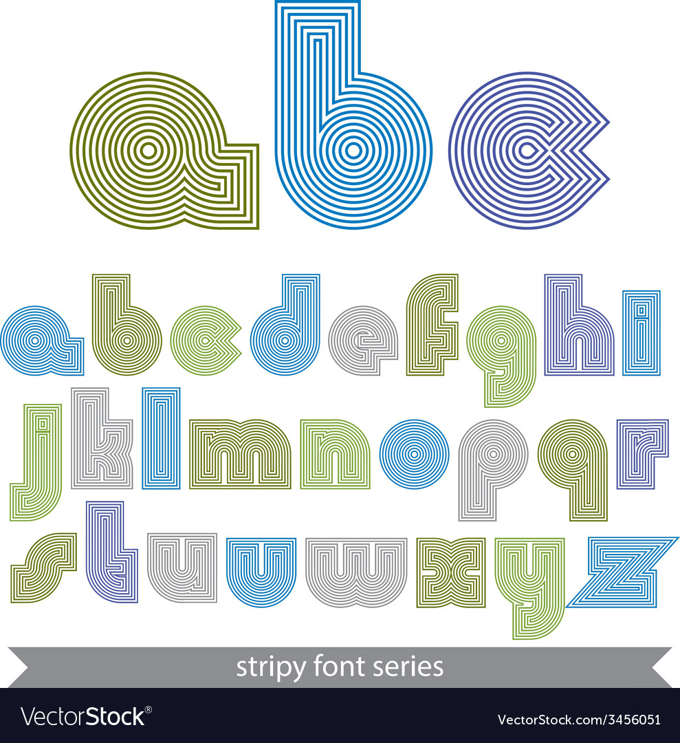 Extraordinary round striped font light lowercase vector | Price: 1 Credit (USD $1)