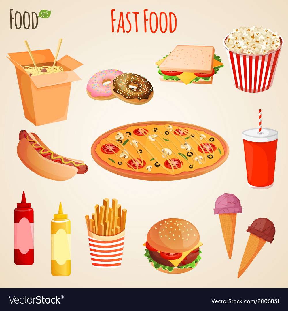 Fast food set vector | Price: 1 Credit (USD $1)