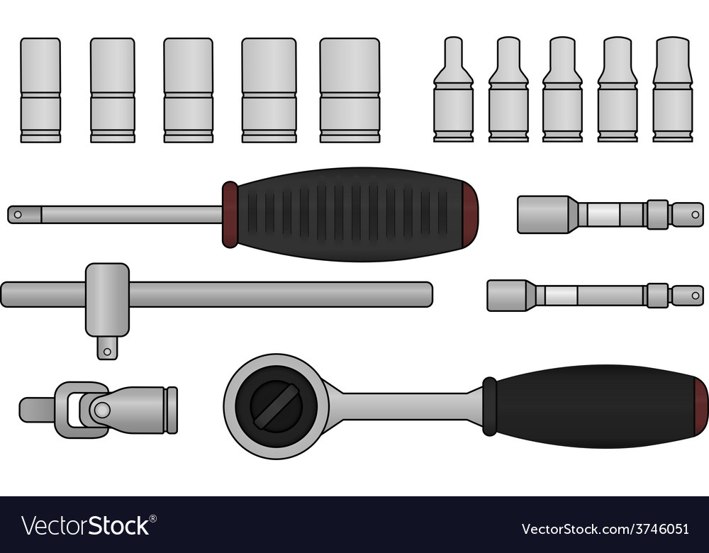 Ratchet and socket icon set vector