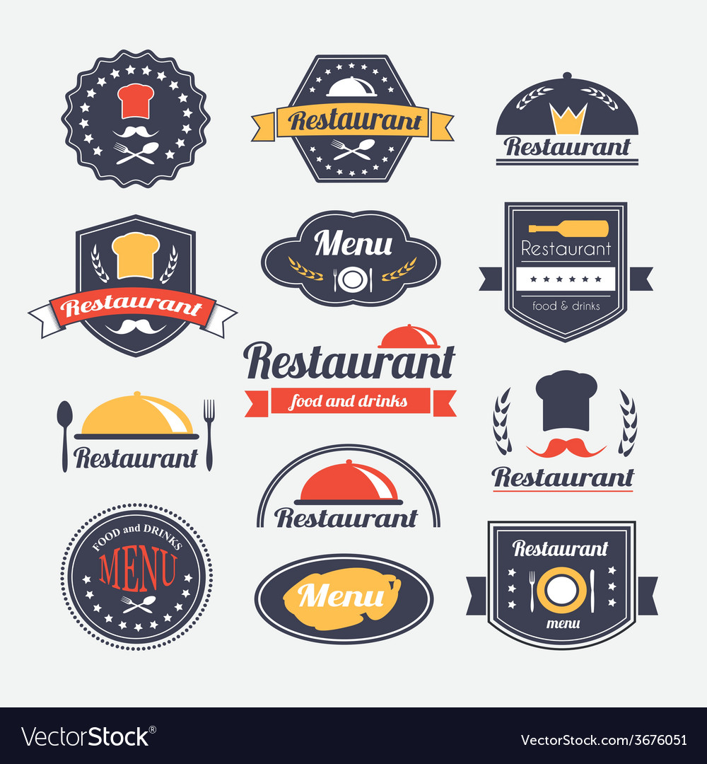 Retro restaurant vintage insignias or logotypes vector | Price: 1 Credit (USD $1)