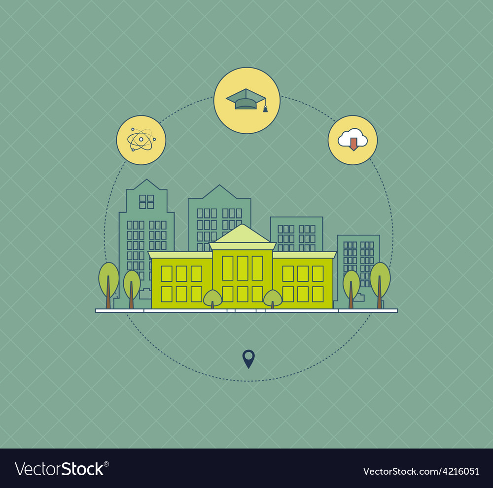 School and university building icon vector | Price: 1 Credit (USD $1)