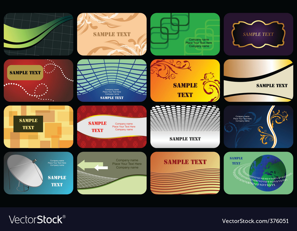 Set horizontal colorful business card vector | Price: 1 Credit (USD $1)