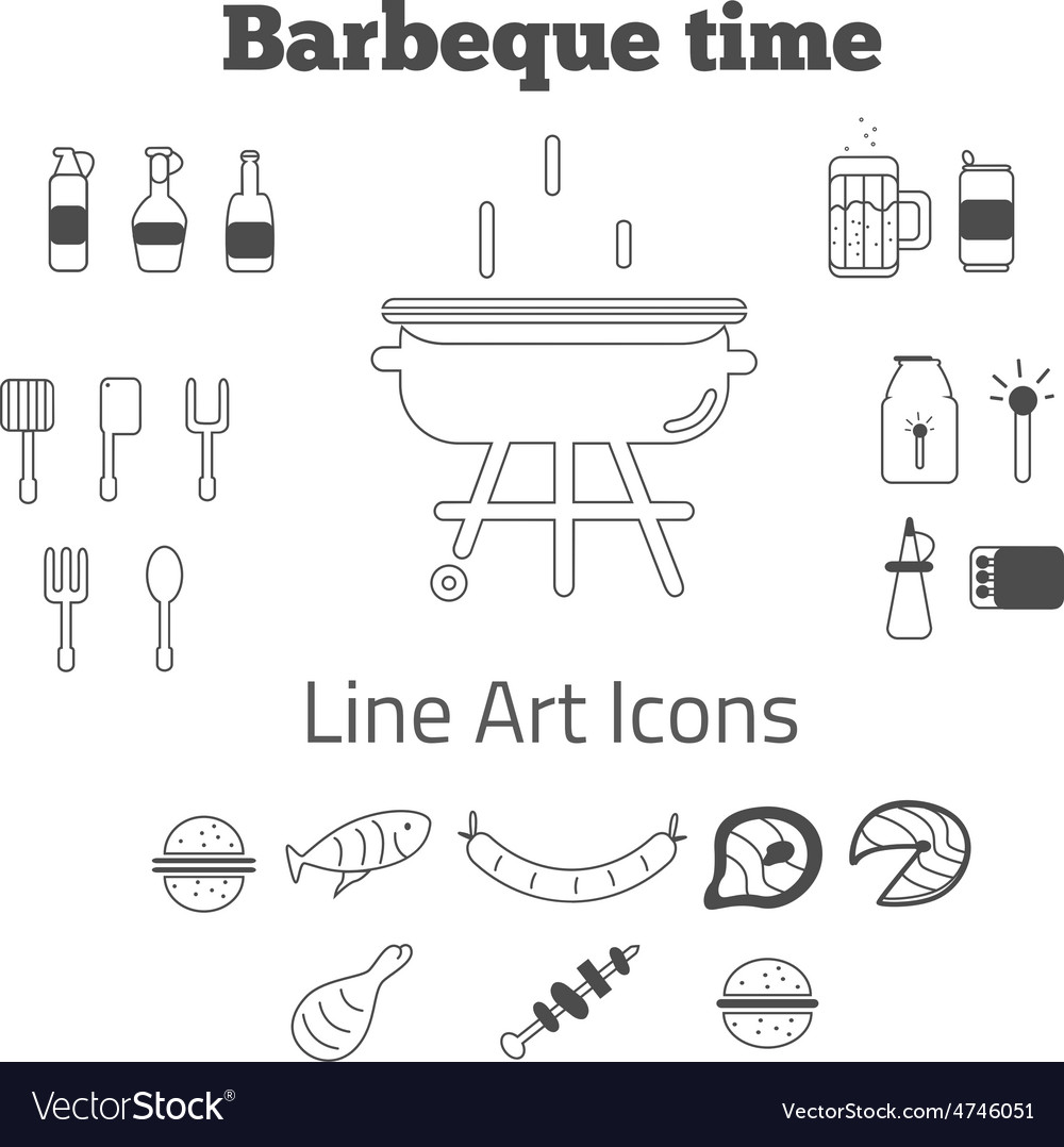 Set of line art barbeque icons in minimal vector | Price: 1 Credit (USD $1)
