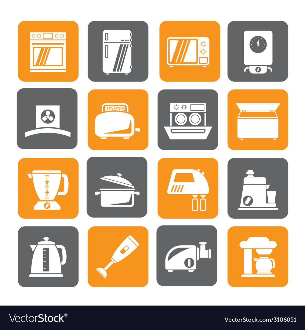 Silhouette kitchen appliances and equipment icons vector | Price: 1 Credit (USD $1)