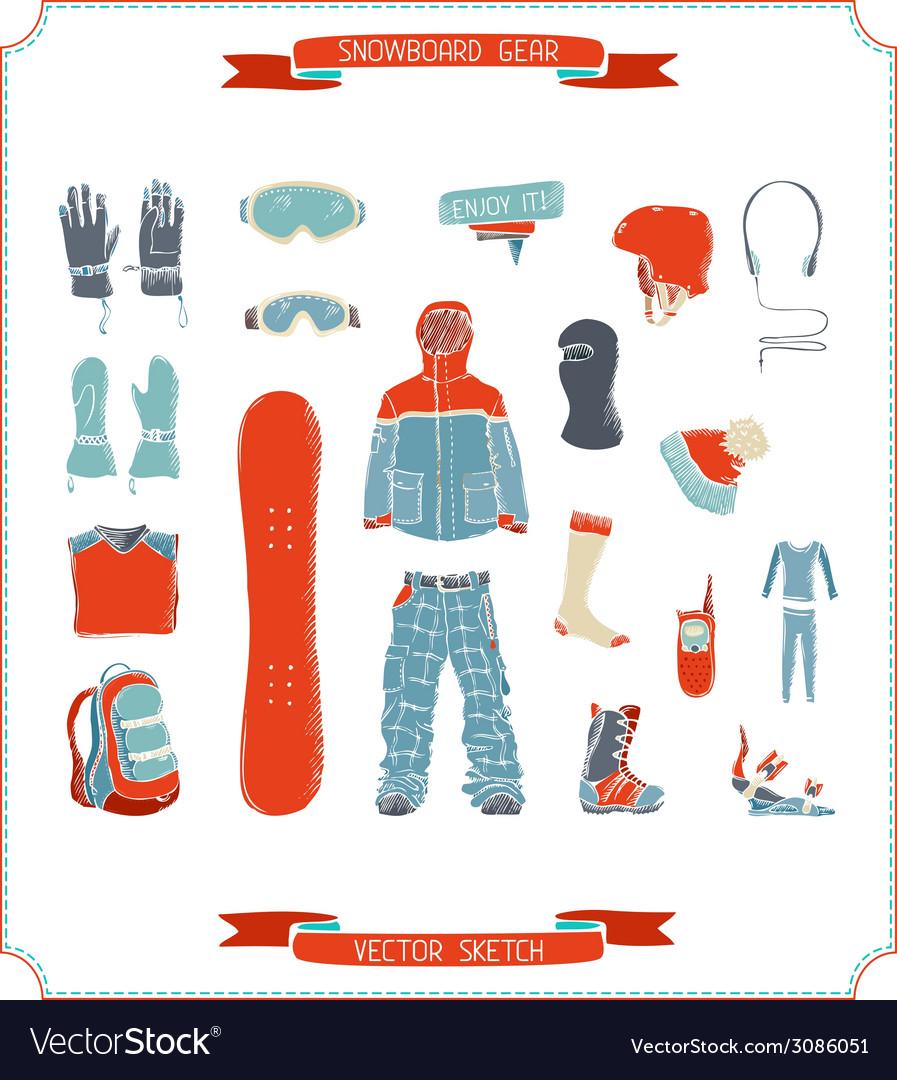 Snowboard gear vector | Price: 1 Credit (USD $1)