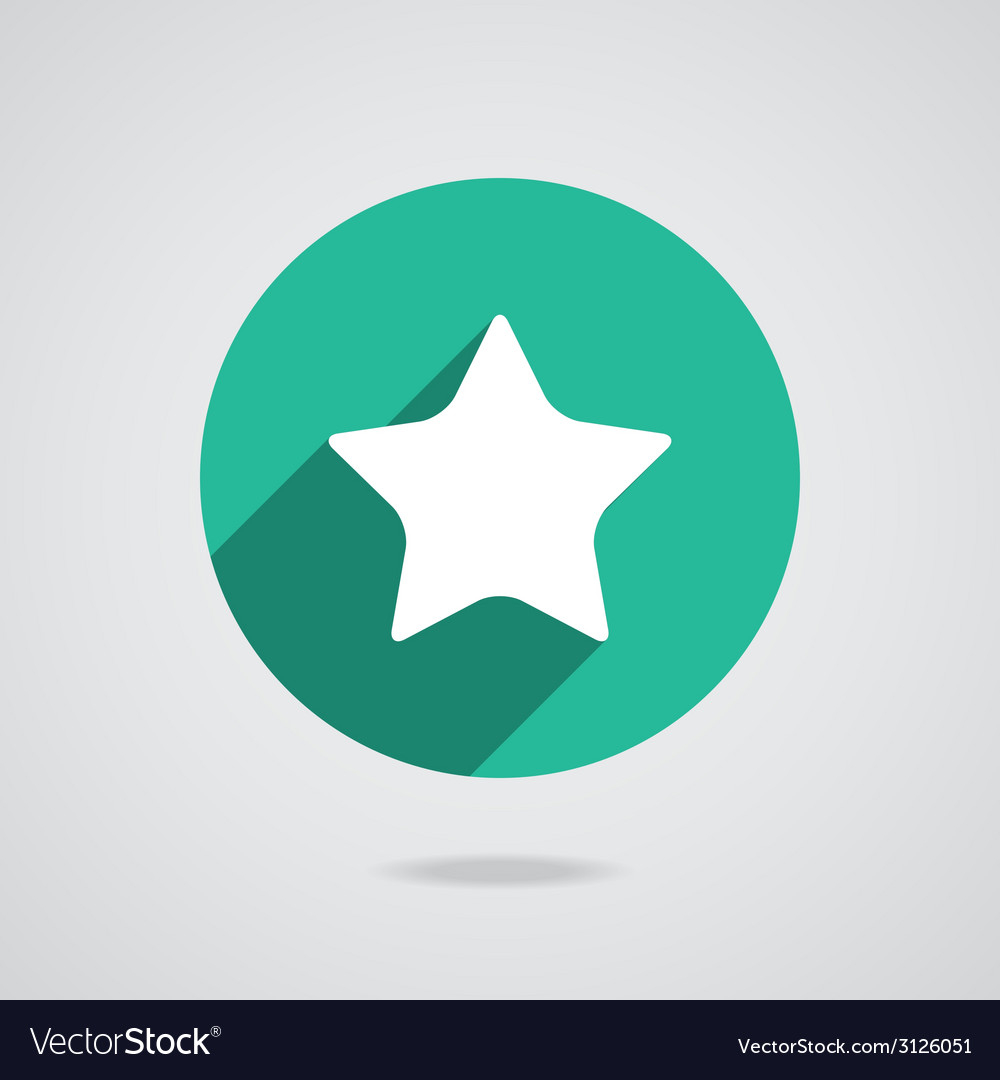 Star white icon with long shadow flat design vector | Price: 1 Credit (USD $1)
