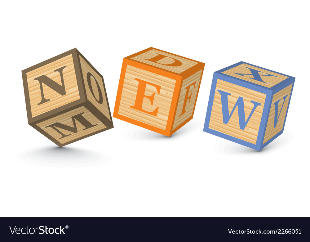 Word new written with alphabet blocks vector | Price: 1 Credit (USD $1)