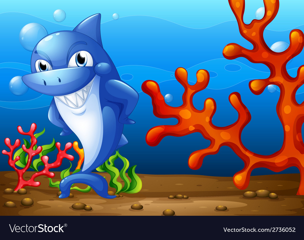 A happy shark underwater vector | Price: 1 Credit (USD $1)
