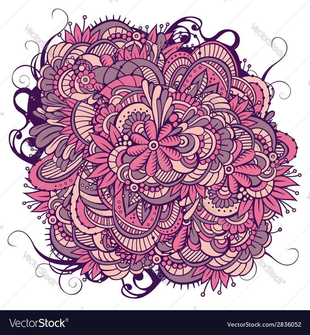 Abstract floral ornamental doodles background vector | Price: 1 Credit (USD $1)
